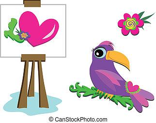 芸術, イーゼル, toucan, そして, 花