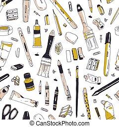 芸術, オフィス, 優雅である, 道具, 文房具, パターン, seamless, 道具, 執筆, 織物, バックグラウンド。, 供給, 白, 包むこと, イラスト, 手, 引かれる, 印刷, wallpaper., ペーパー, 現実的, ベクトル, ∥あるいは∥