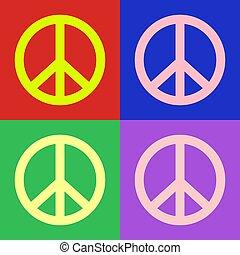 芸術, カラフルである, シンボル, 平和, ポンとはじけなさい, ベクトル, デザイン