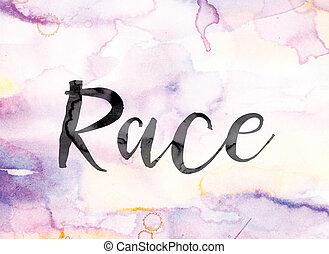 芸術, カラフルである, 水彩画, レース, インク, 単語