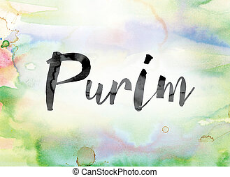 芸術, カラフルである, 水彩画, purim, インク, 単語