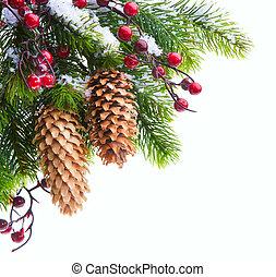 芸術, クリスマスツリー, 保護される, 雪