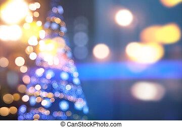 芸術, クリスマスライト, 上に, 青い背景