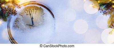 芸術, クリスマス, そして, 幸せ, 大晦日, background;, 2017