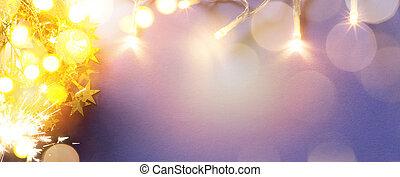 芸術, クリスマス, ホリデー, ライト, 上に, 青い背景