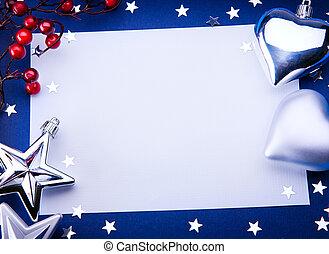 芸術, クリスマス, 挨拶, 上に, 青い背景