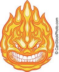 芸術, クリップ, 怒る, 顔, ベクトル, 火の玉