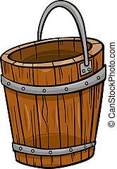 芸術, クリップ, 木製のバケット, レトロ, 漫画