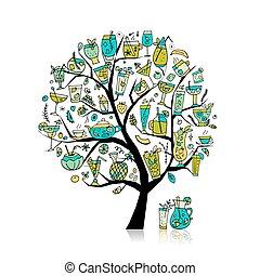 芸術, コレクション, 木, デザイン, あなたの, 飲み物