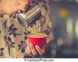 芸術, コーヒー, 作りなさい, フォーカス, latte, selctive, dept, field., いかに