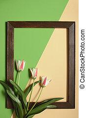 芸術, チューリップ, 色, 春, フレーム, バックグラウンド。, 緑, ベージュ, デザイン, 花, 最小である