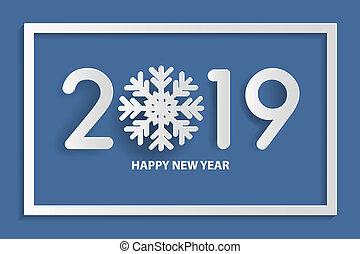 芸術, テキスト, 新しい, ペーパー, 2019, 年, snowflake., デザイン, style., 幸せ