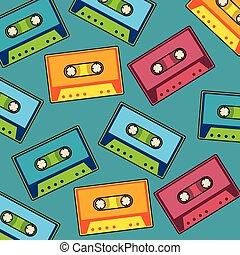 芸術, パターン, ポンとはじけなさい, カセット, レトロ, 音楽