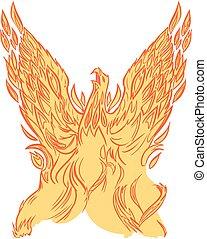 芸術, フェニックス, クリップ, ベクトル, 上昇, ∥あるいは∥, firebird