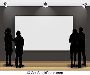芸術, フレーム, イラスト, 見る, advertisement., シルエット, ベクトル, 人々, イメージ,...