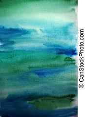 芸術, ペイントされた, 手, 水彩画, 緑の背景, デザイン