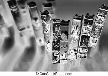 #, 芸術, マクロ, モノクローム, 古い, タイプライター