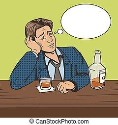 芸術, ムード, ポンとはじけなさい, ひどく, ベクトル, バー, 飲み物, 人