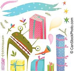 芸術, モンスター, クリップ, コレクション, プレゼント, 緑, 楽しみ, 休日, リボン