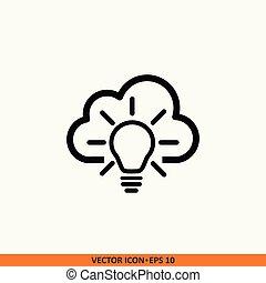 芸術, ライト, 隔離された, イラスト, cloud., 電球, 線, アイコン