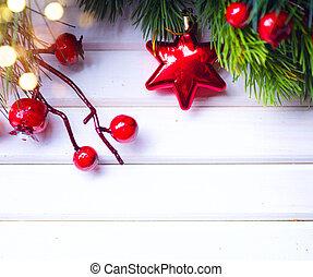 芸術, 上に, 装飾, バックグラウンド。, 木, デザイン, 年, 新しい, 白, ボーダー, クリスマス