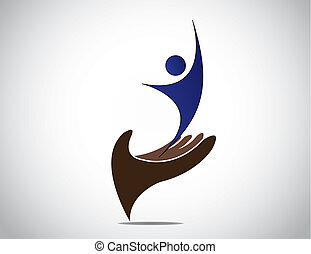 芸術, 保護である, 女性, 管理, シルエット, concept., 若い, 安全, 表現, 幸せな女性, 成功した,...