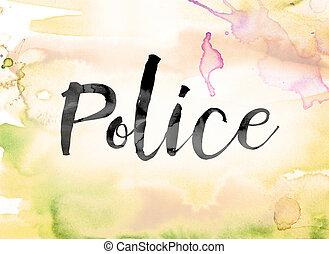 芸術, 単語, カラフルである, 水彩画, インク, 警察