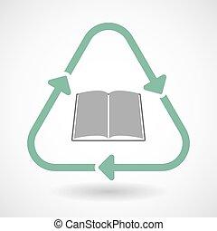 芸術, 印, 本, リサイクルしなさい, 線, アイコン