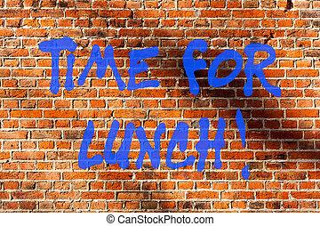 芸術, 壁, 写真, 残り, wall., 落書き, 持ちなさい, 執筆, 書かれた, 呼出し, テキスト, 概念, れんが, 動機づけである, ビジネス, リラックスしなさい, 提示, 飲みなさい, 手, 壊れなさい, 瞬間, lunch., 食べなさい, のように, 仕事, 時間, 食事