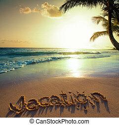 芸術, 夏 休暇, concept--vacation, テキスト, 上に, a, 砂, 海洋, 浜