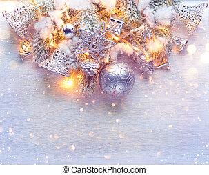 芸術, 安っぽい飾り, 上に, 装飾, バックグラウンド。, 木, デザイン, 年, 新しい, 白, 休日, ボーダー, クリスマス