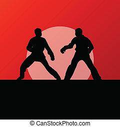 芸術, 戦闘, ける, kwon, 戦い, tae, 戦争である, 戦闘機, ベクトル, イラスト, 背景, 活動的, シルエット, スポーツ