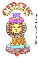 芸術, 有色人種, サーカス, -, 主題, ライオン, 線, 帽子, 図画