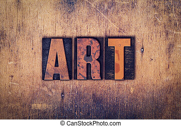芸術, 概念, 木製である, 凸版印刷, タイプ