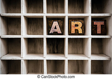 芸術, 概念, 木製である, 凸版印刷, タイプ, 中に, ドロー