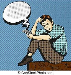 芸術, 話し, ポンとはじけなさい, 電話, ベクトル, イラスト, 人