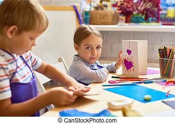 芸術, 贈り物, 技能, 作成, レッスン, 子供, カード