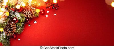 芸術, 赤, クリスマス, ホリデー, background;, グリーティングカード