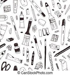 芸術, 道具, モノクローム, 輪郭, 道具, バックグラウンド。, パターン, seamless, 執筆, 織物, 文房具, 黒, 引かれる, 白, イラスト, 手, print., 学校, ライン, 現実的, ベクトル, 供給
