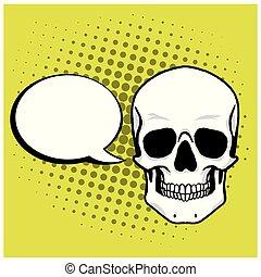 芸術, 頭骨, ポンとはじけなさい, 漫画, ベクトル, スピーチ, 背景, 泡, 図画