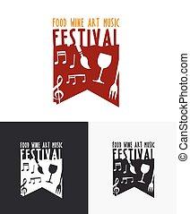 芸術, 食物, 祝祭, 音楽, ロゴ, ワイン