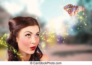 芸術, beauty., 物語, ファンタジー, 蝶, 妖精, 大丈夫です