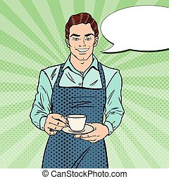 芸術, coffee., barista, ポンとはじけなさい, レトロ, ベクトル, イラスト, 作成, カフェ, ハンサム