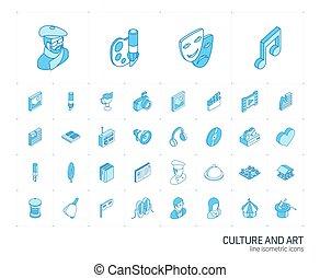 芸術, icons., 文化, ベクトル, 線, 3d, 等大