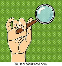 芸術, illustration., ポンとはじけなさい, 手, ガラス, ベクトル, 拡大する
