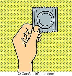 芸術, illustration., ポンとはじけなさい, 手, ベクトル, コンドーム