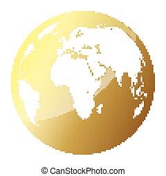 芸術, illustration., 金, 地球, ピクセル, ベクトル, 地球, style.
