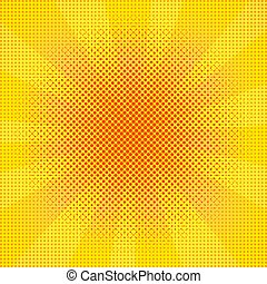 芸術, illustration., dots., ライト, ポンとはじけなさい, ベクトル, レトロ, 背景, 爆発, rays.
