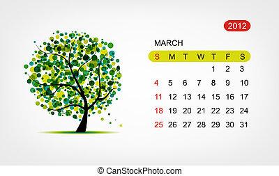 芸術, march., 木, ベクトル, デザイン, 2012, カレンダー