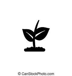 芽, ベクトル, 成長, 平ら, アイコン, 植物, 木, 若い, 農業